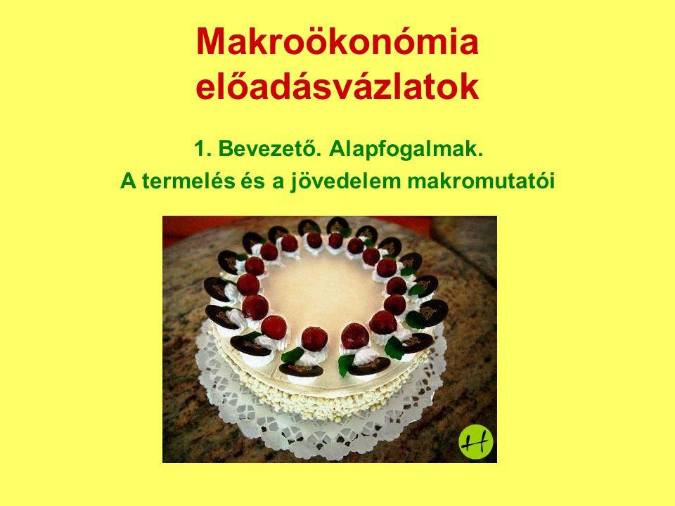 Makroökonómia előadásvázlatok 1. Bevezető. Alapfogalmak. A termelés és a jövedelem makromutatói