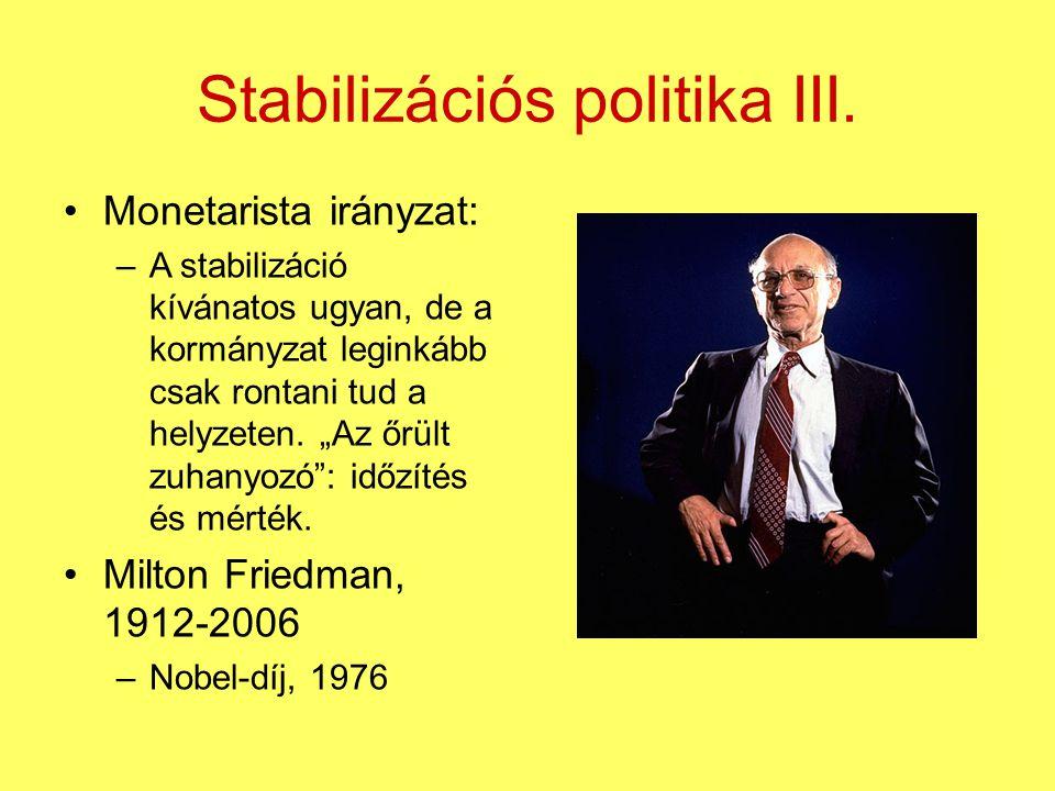 """Stabilizációs politika III. Monetarista irányzat: –A stabilizáció kívánatos ugyan, de a kormányzat leginkább csak rontani tud a helyzeten. """"Az őrült z"""