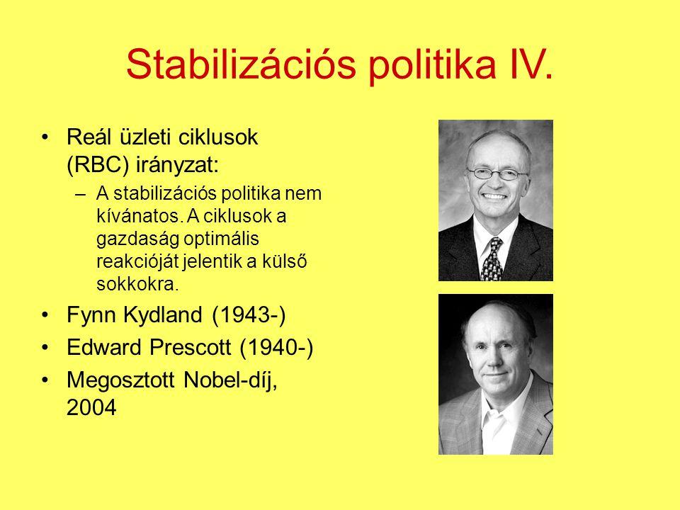 Stabilizációs politika IV. Reál üzleti ciklusok (RBC) irányzat: –A stabilizációs politika nem kívánatos. A ciklusok a gazdaság optimális reakcióját je
