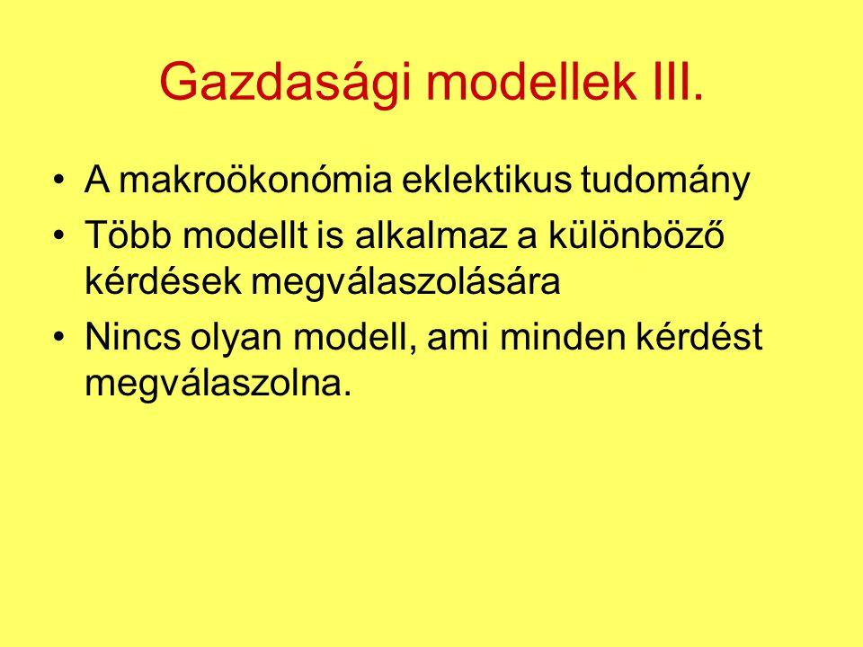A makroökonómia eklektikus tudomány Több modellt is alkalmaz a különböző kérdések megválaszolására Nincs olyan modell, ami minden kérdést megválaszoln