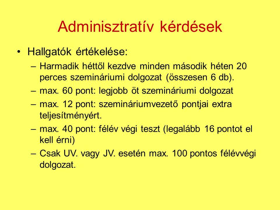 Adminisztratív kérdések Hallgatók értékelése: –Harmadik héttől kezdve minden második héten 20 perces szemináriumi dolgozat (összesen 6 db). –max. 60 p