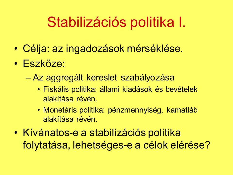 Stabilizációs politika I. Célja: az ingadozások mérséklése. Eszköze: –Az aggregált kereslet szabályozása Fiskális politika: állami kiadások és bevétel