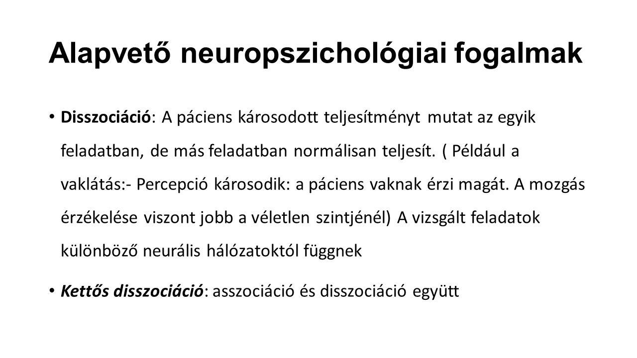 Alapvető neuropszichológiai fogalmak Disszociáció: A páciens károsodott teljesítményt mutat az egyik feladatban, de más feladatban normálisan teljesít