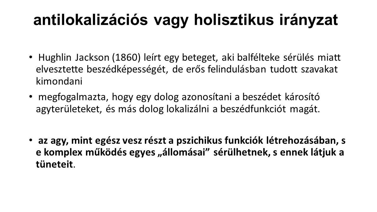 antilokalizációs vagy holisztikus irányzat Hughlin Jackson (1860) leírt egy beteget, aki balfélteke sérülés miatt elvesztette beszédképességét, de erő