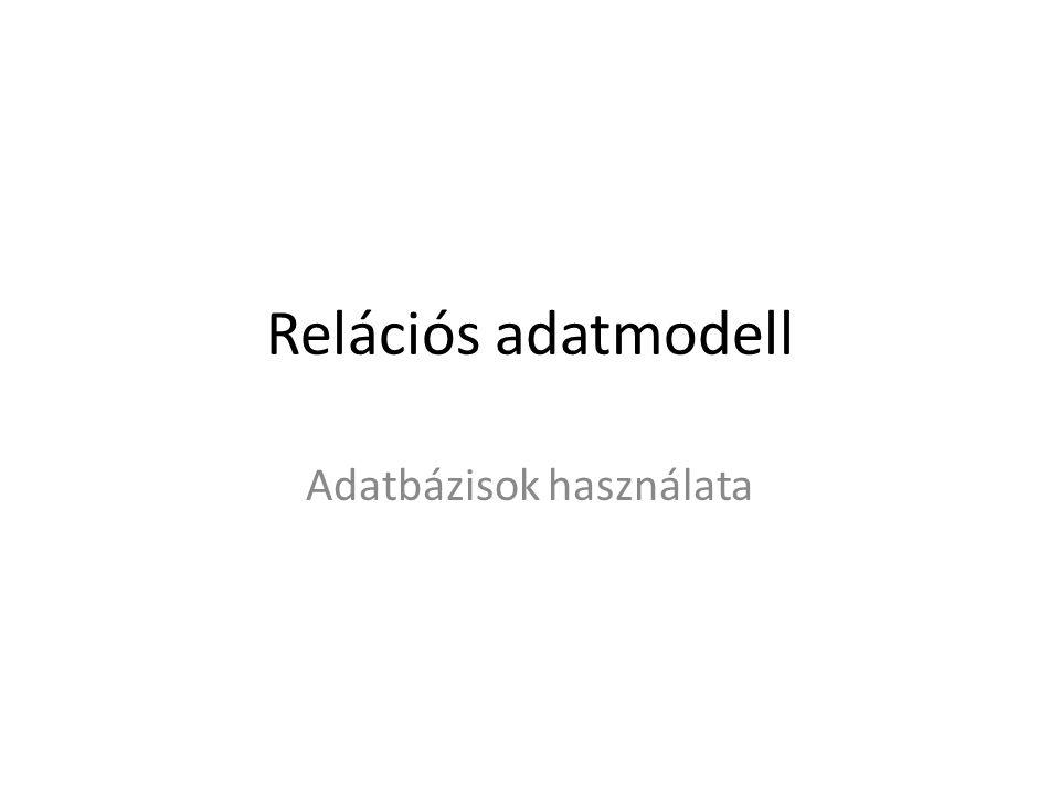 Relációs adatmodell Adatbázisok használata