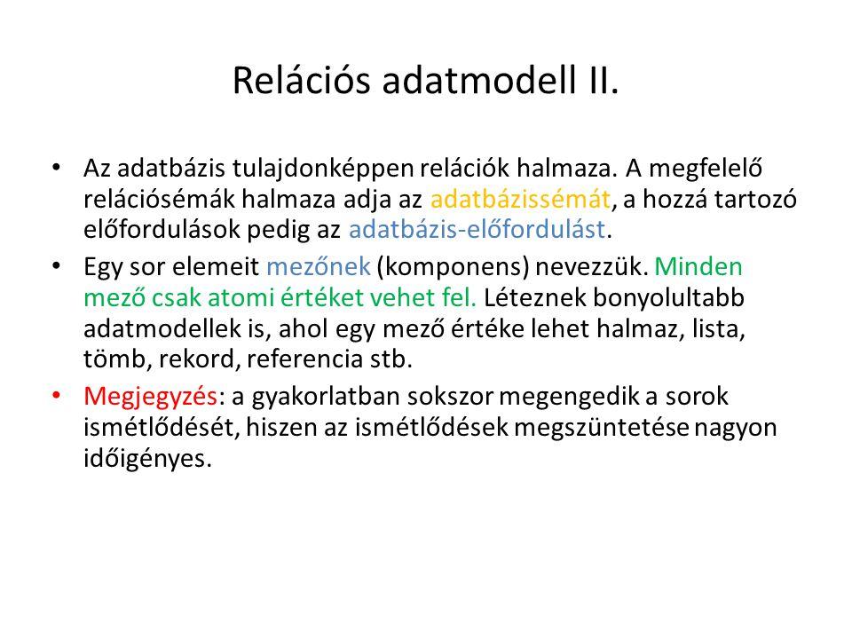 Relációs adatmodell II. Az adatbázis tulajdonképpen relációk halmaza. A megfelelő relációsémák halmaza adja az adatbázissémát, a hozzá tartozó előford