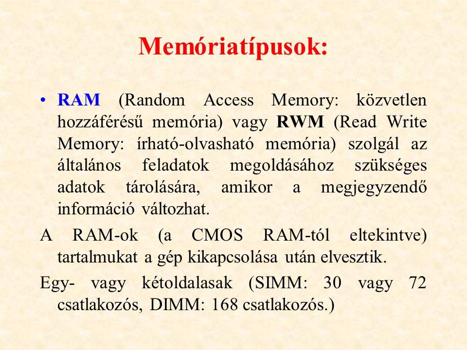 Memóriatípusok: RAM (Random Access Memory: közvetlen hozzáférésű memória) vagy RWM (Read Write Memory: írható-olvasható memória) szolgál az általános