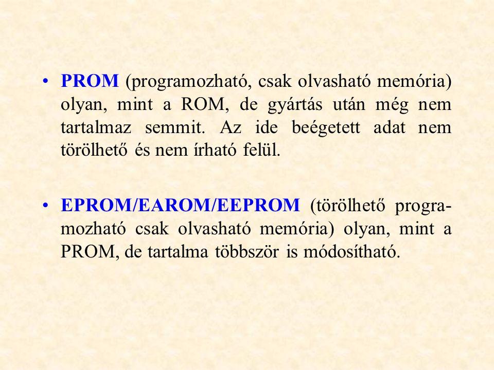 PROM (programozható, csak olvasható memória) olyan, mint a ROM, de gyártás után még nem tartalmaz semmit. Az ide beégetett adat nem törölhető és nem í