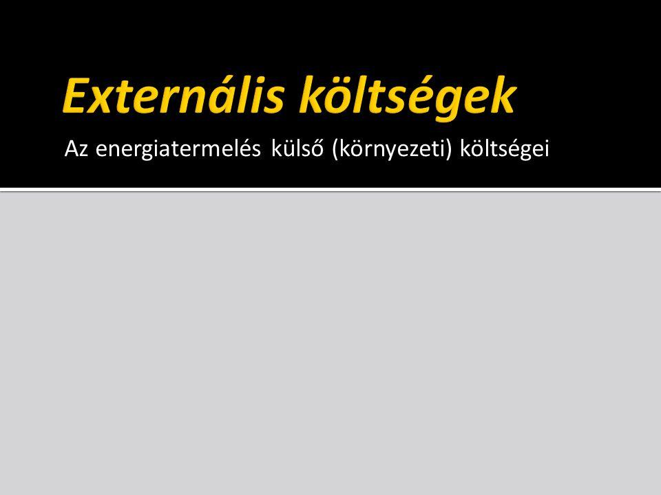 Az energiatermelés külső (környezeti) költségei