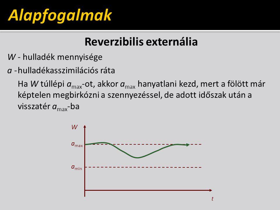 Reverzibilis externália W - hulladék mennyisége a -hulladékasszimilációs ráta Ha W túllépi a max -ot, akkor a max hanyatlani kezd, mert a fölött már képtelen megbirkózni a szennyezéssel, de adott időszak után a visszatér a max -ba t a max a min W