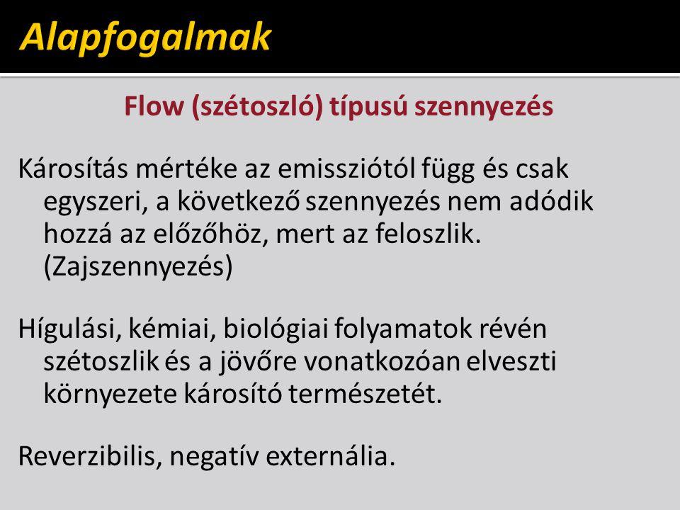 Flow (szétoszló) típusú szennyezés Károsítás mértéke az emissziótól függ és csak egyszeri, a következő szennyezés nem adódik hozzá az előzőhöz, mert az feloszlik.
