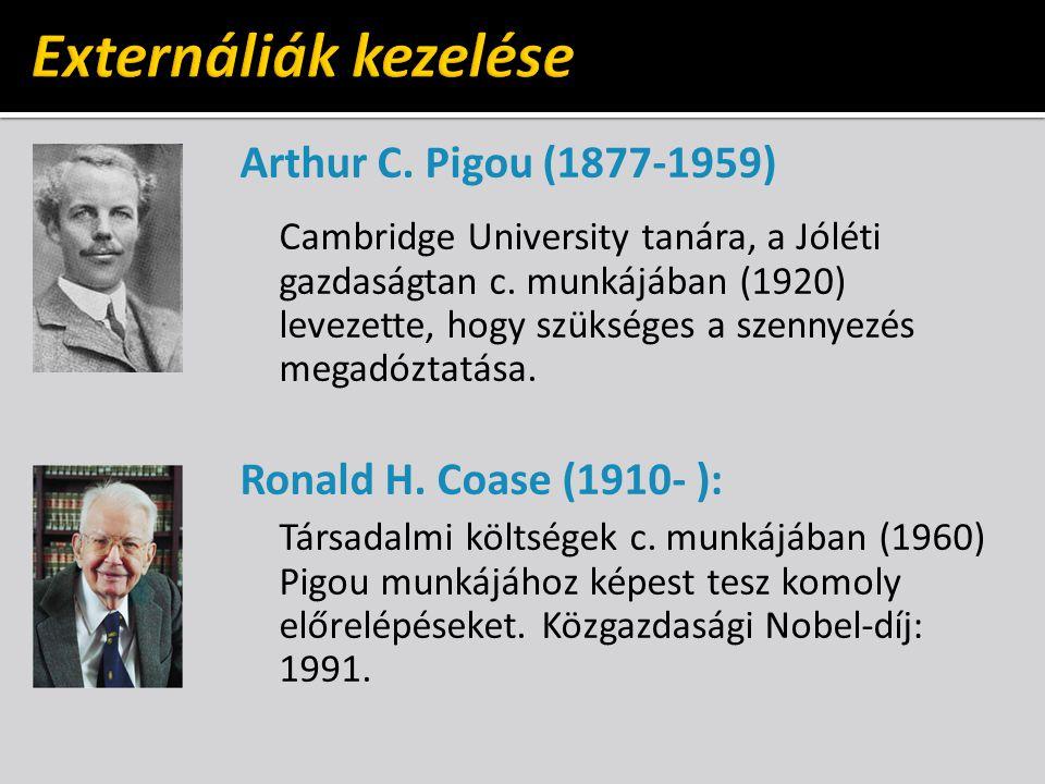 Arthur C. Pigou (1877-1959) Cambridge University tanára, a Jóléti gazdaságtan c.