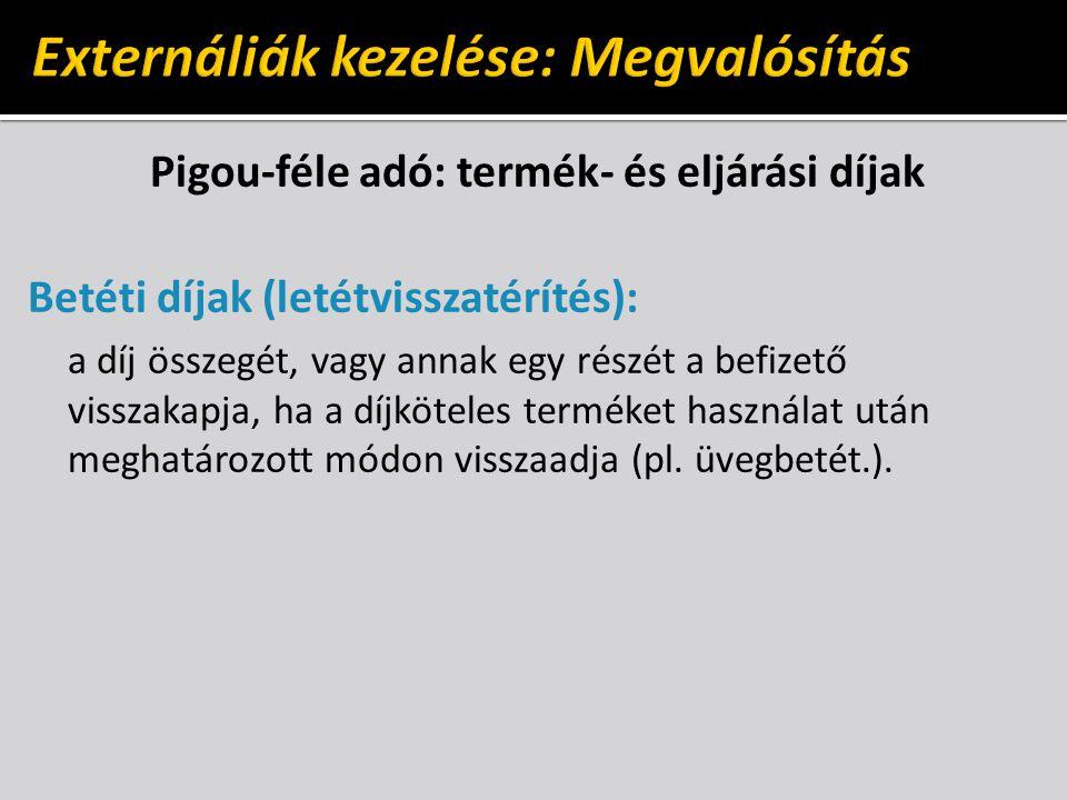 Pigou-féle adó: termék- és eljárási díjak Betéti díjak (letétvisszatérítés): a díj összegét, vagy annak egy részét a befizető visszakapja, ha a díjköteles terméket használat után meghatározott módon visszaadja (pl.