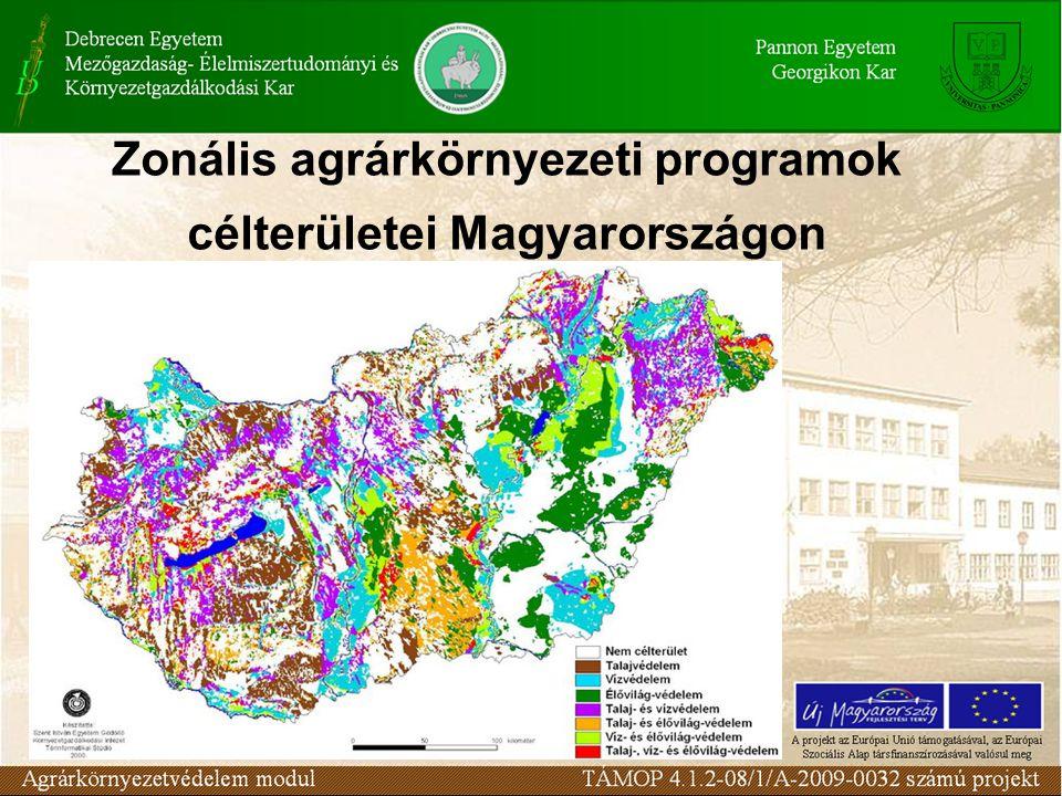 Zonális agrárkörnyezeti programok célterületei Magyarországon