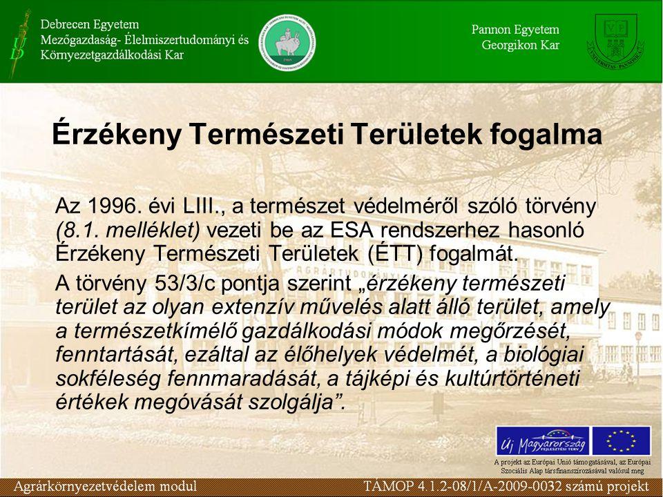 Érzékeny Természeti Területek fogalma Az 1996.