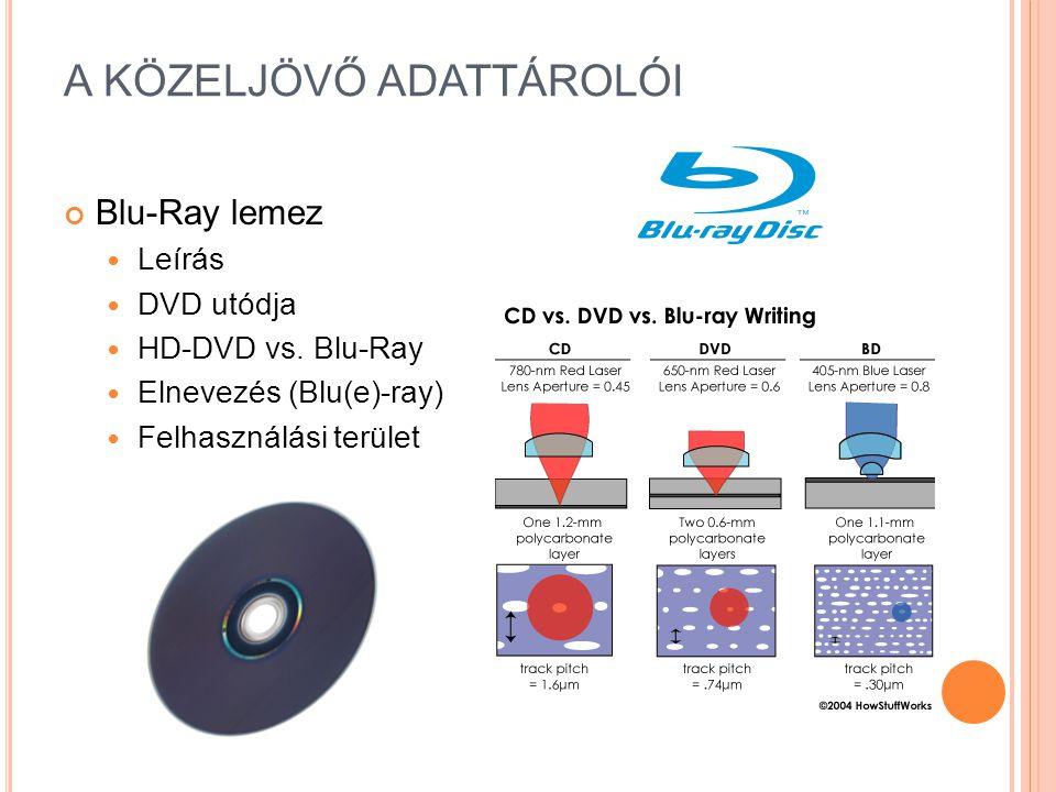 A KÖZELJÖVŐ ADATTÁROLÓI Blu-Ray lemez Leírás DVD utódja HD-DVD vs.