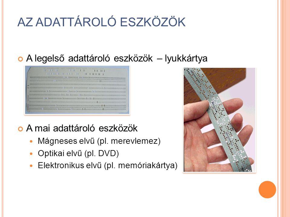 AZ ADATTÁROLÓ ESZKÖZÖK A legelső adattároló eszközök – lyukkártya A mai adattároló eszközök Mágneses elvű (pl.