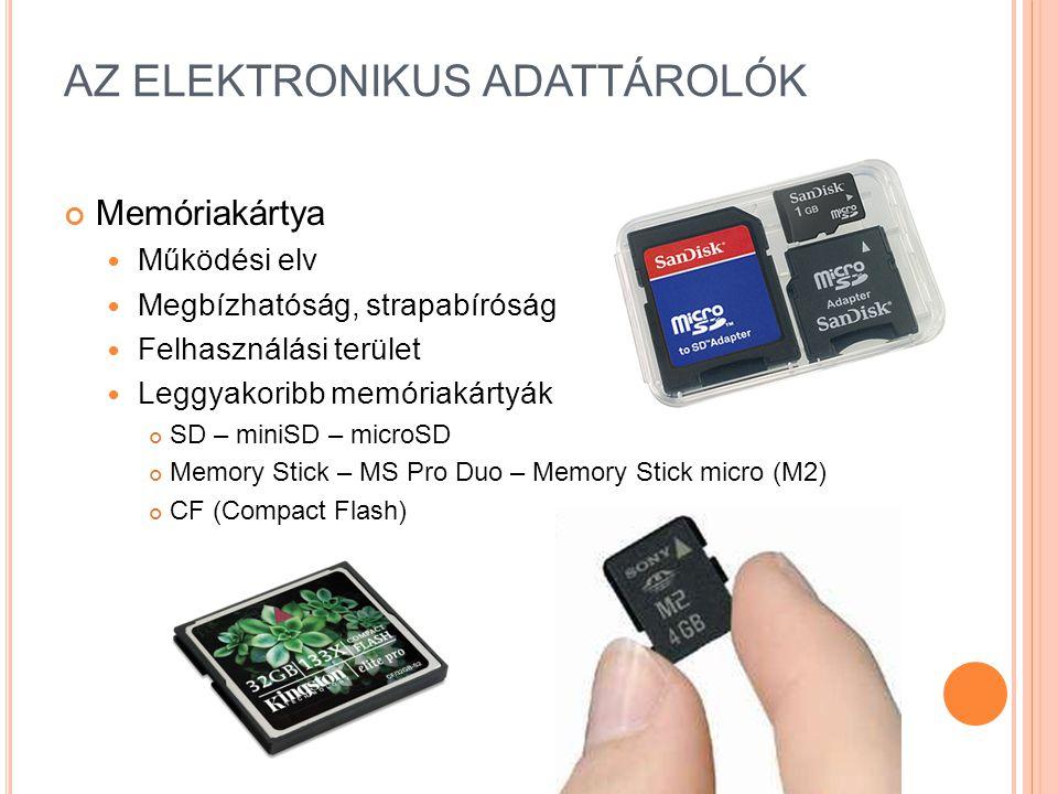 AZ ELEKTRONIKUS ADATTÁROLÓK Memóriakártya Működési elv Megbízhatóság, strapabíróság Felhasználási terület Leggyakoribb memóriakártyák SD – miniSD – microSD Memory Stick – MS Pro Duo – Memory Stick micro (M2) CF (Compact Flash)