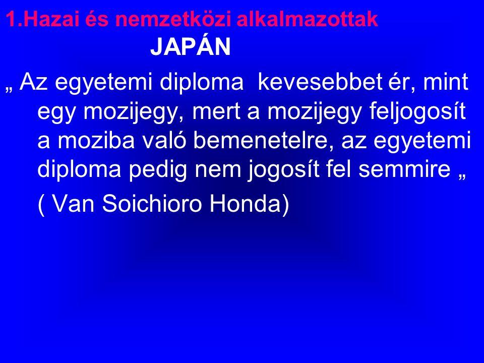 """1.Hazai és nemzetközi alkalmazottak JAPÁN """" Az egyetemi diploma kevesebbet ér, mint egy mozijegy, mert a mozijegy feljogosít a moziba való bemenetelre, az egyetemi diploma pedig nem jogosít fel semmire """" ( Van Soichioro Honda)"""