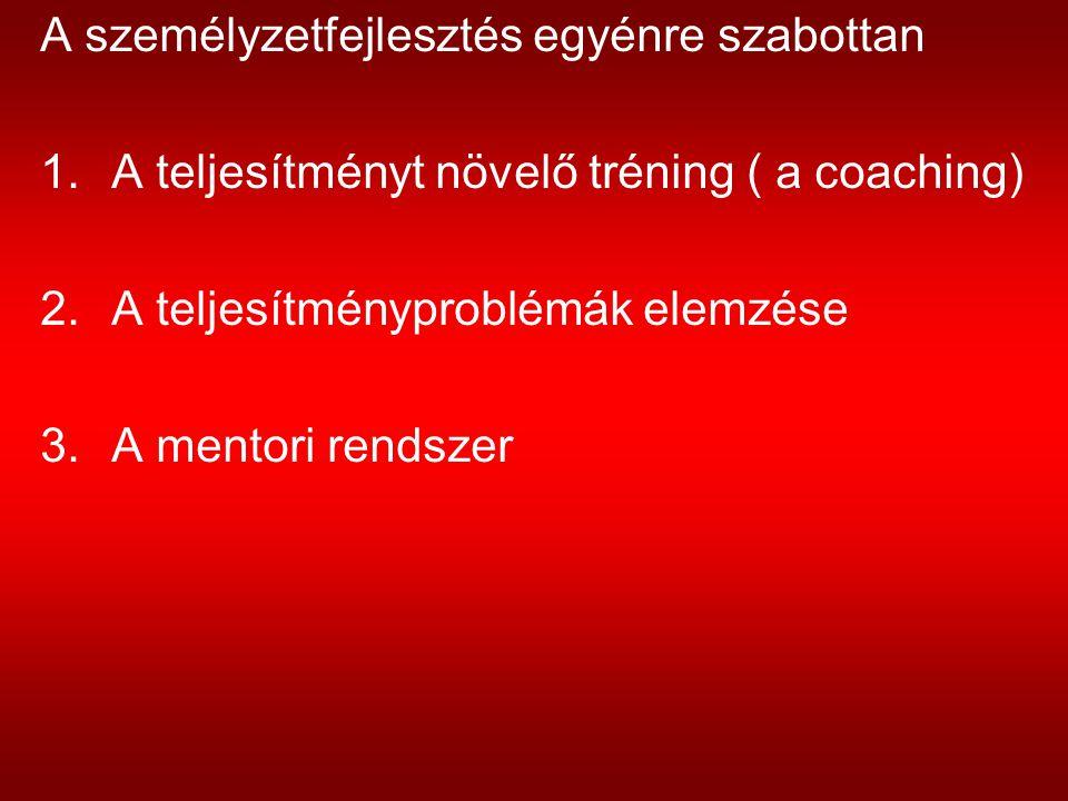 A személyzetfejlesztés egyénre szabottan 1.A teljesítményt növelő tréning ( a coaching) 2.A teljesítményproblémák elemzése 3.A mentori rendszer