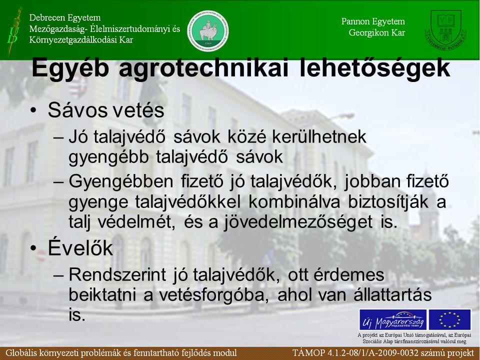 Egyéb agrotechnikai lehetőségek Sávos vetés –Jó talajvédő sávok közé kerülhetnek gyengébb talajvédő sávok –Gyengébben fizető jó talajvédők, jobban fizető gyenge talajvédőkkel kombinálva biztosítják a talj védelmét, és a jövedelmezőséget is.