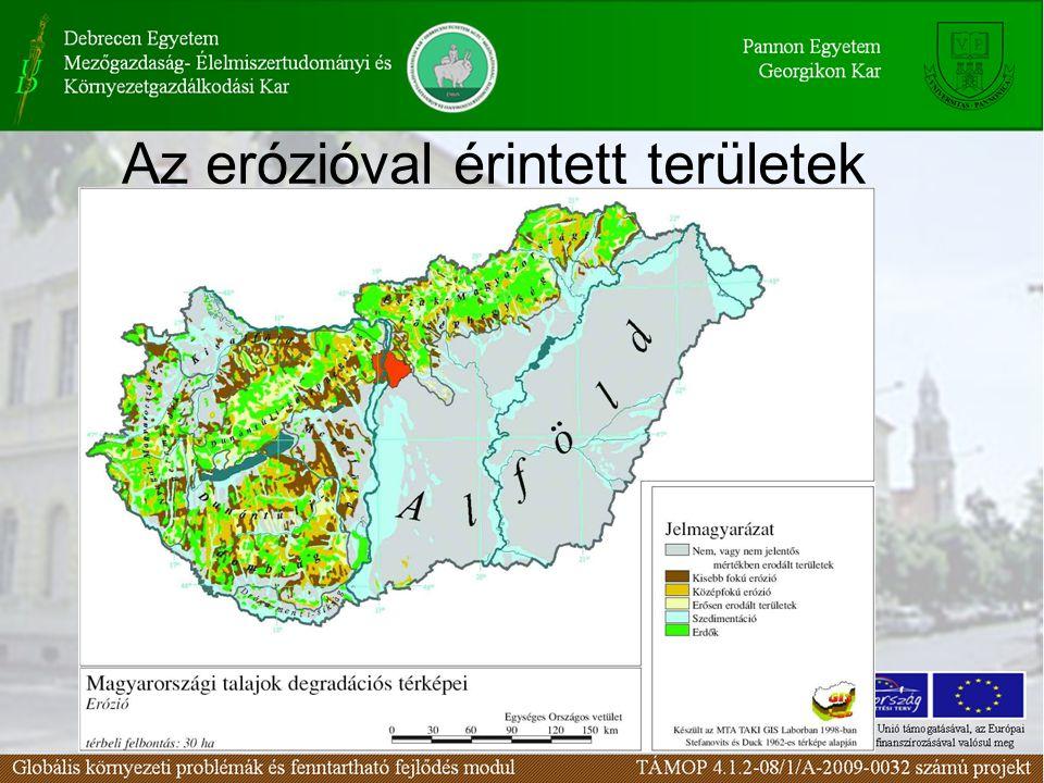 Az erózióval érintett területek