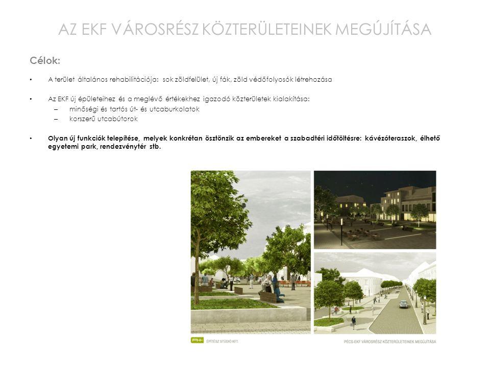 A terület általános rehabilitációja: sok zöldfelület, új fák, zöld védőfolyosók létrehozása Az EKF új épületeihez és a meglévő értékekhez igazodó közt