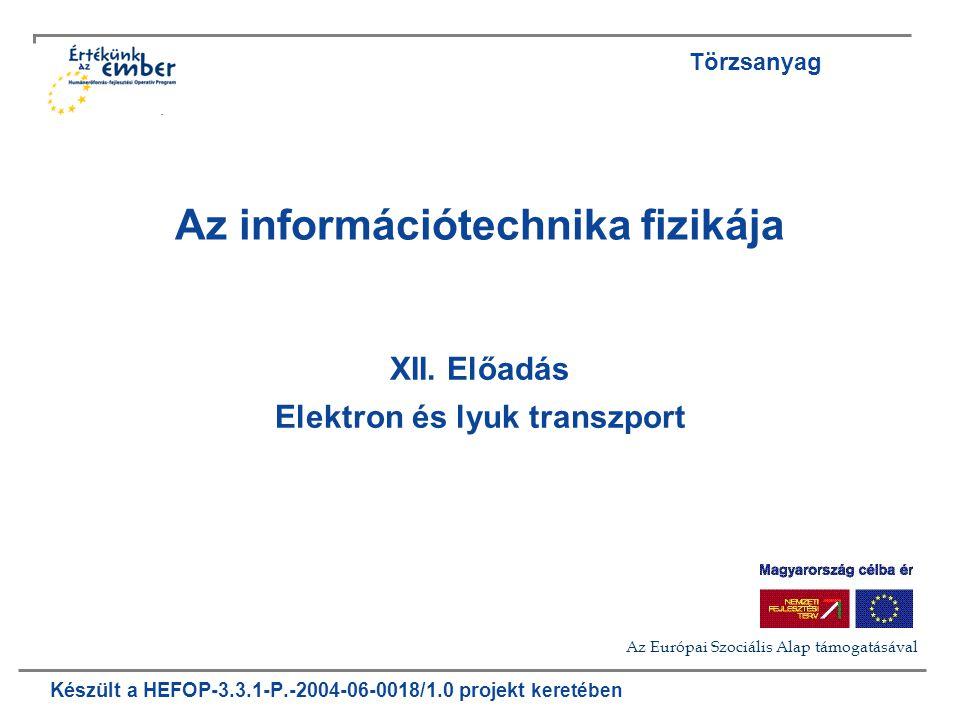 Készült a HEFOP-3.3.1-P.-2004-06-0018/1.0 projekt keretében Az információtechnika fizikája XII.
