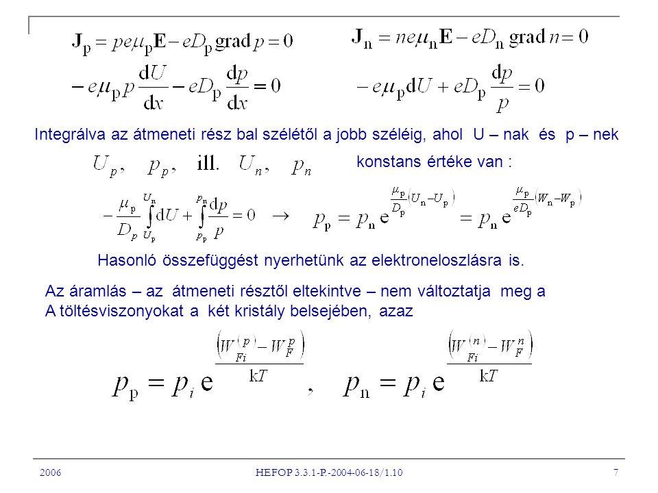 2006 HEFOP 3.3.1-P.-2004-06-18/1.10 7 Integrálva az átmeneti rész bal szélétől a jobb széléig, ahol U – nak és p – nek konstans értéke van : Hasonló összefüggést nyerhetünk az elektroneloszlásra is.