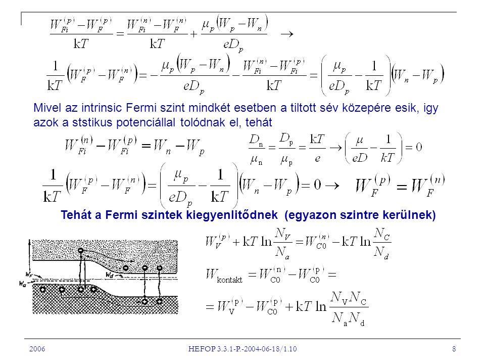 2006 HEFOP 3.3.1-P.-2004-06-18/1.10 9 Azonnal felborul a termikus egyensúly, ha a p-n rétegdiódára feszültséget kapcsolunk.