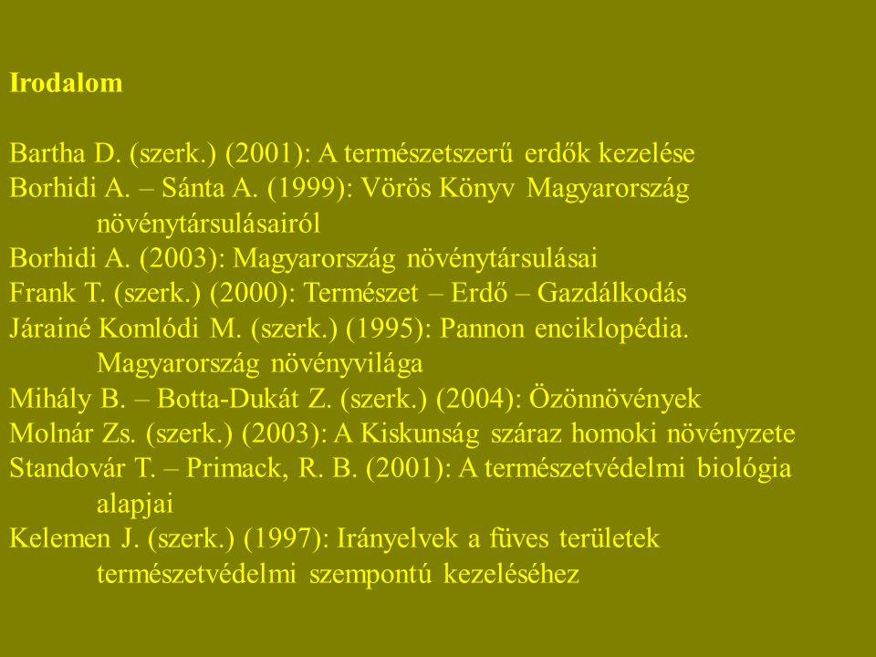 Irodalom Bartha D. (szerk.) (2001): A természetszerű erdők kezelése Borhidi A.