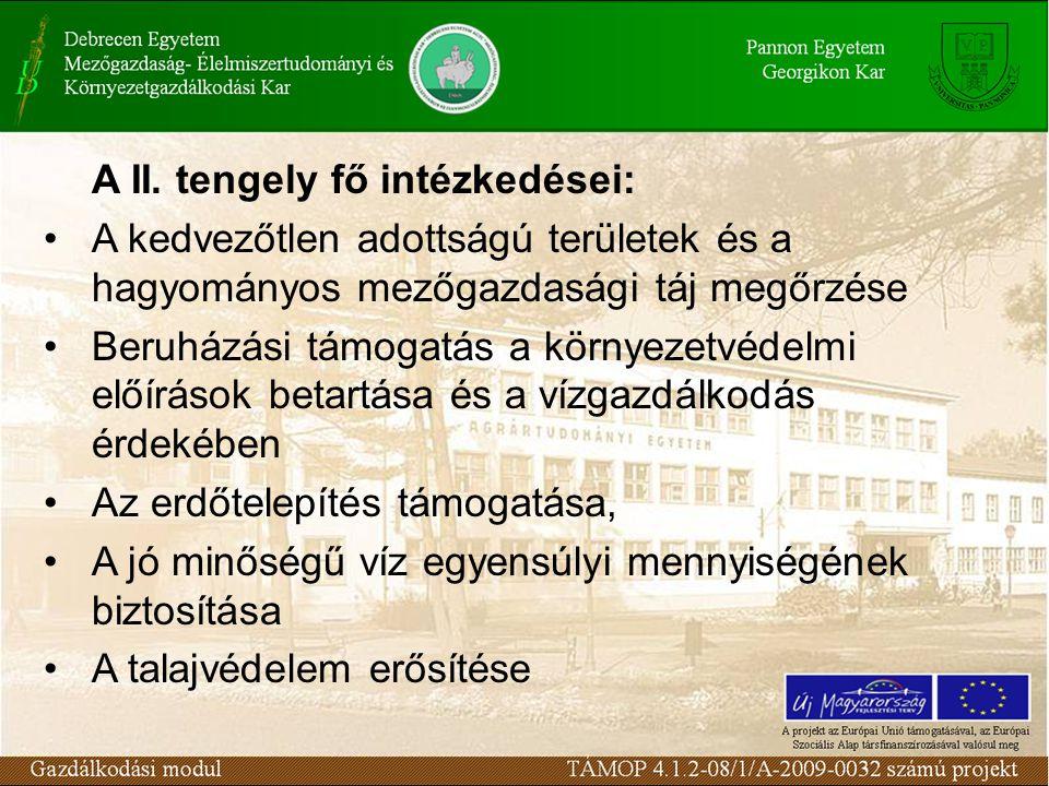  A mezőgazdasági területek fenntartható használatára irányuló intézkedések  Kifizetés kedvezőtlen adottságú területen gazdálkodók részére (kivéve hegyvidéki területek)  Natura 2000 kifizetések mezőgazdasági területeken  Agrár-környezetgazdálkodási kifizetések  Őshonos és veszélyeztetett mezőgazdasági állatfajták genetikai állományának tenyésztésben történő megőrzése  Genetikai erőforrások megőrzése  Nem termelő beruházásoknak nyújtott támogatás Int é zked é sek: II.