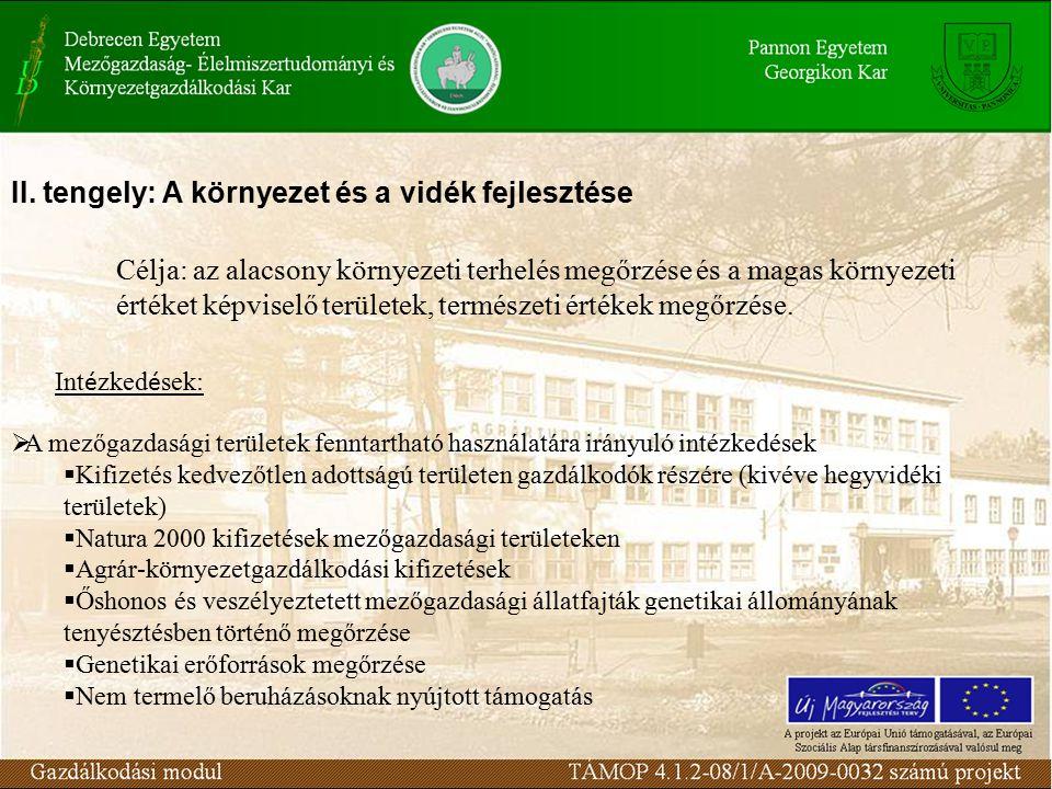  Az erdősített területek fenntartható használatára irányuló intézkedések  A mezőgazdasági földterület első erdősítése  Agrár-erdészeti rendszerek első létrehozása mezőgazdasági földterületeken  Nem mezőgazdasági földterület első erdősítése  Erdő-környezetvédelmi kifizetések  Az erdészeti potenciál helyreállítása és megelőző intézkedések bevezetése  Erdő területeket érintő, nem termelő jellegű beruházások Kifizetés kedvezőtlen adottságú területen gazdálkodók részére (kivéve hegyvidéki területek) Az intézkedés hozzájárul az elhagyott földterületek hasznosításához, jövedelem- kiegészítést biztosít a kedvezőtlen adottságú területeken a mezőgazdasági tevékenységet fenntartó gazdálkodók részére.