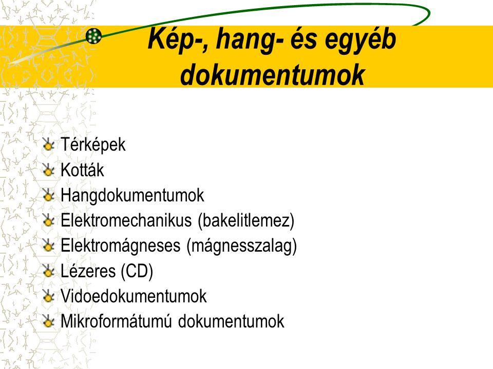 Kép-, hang- és egyéb dokumentumok Térképek Kották Hangdokumentumok Elektromechanikus (bakelitlemez) Elektromágneses (mágnesszalag) Lézeres (CD) Vidoed