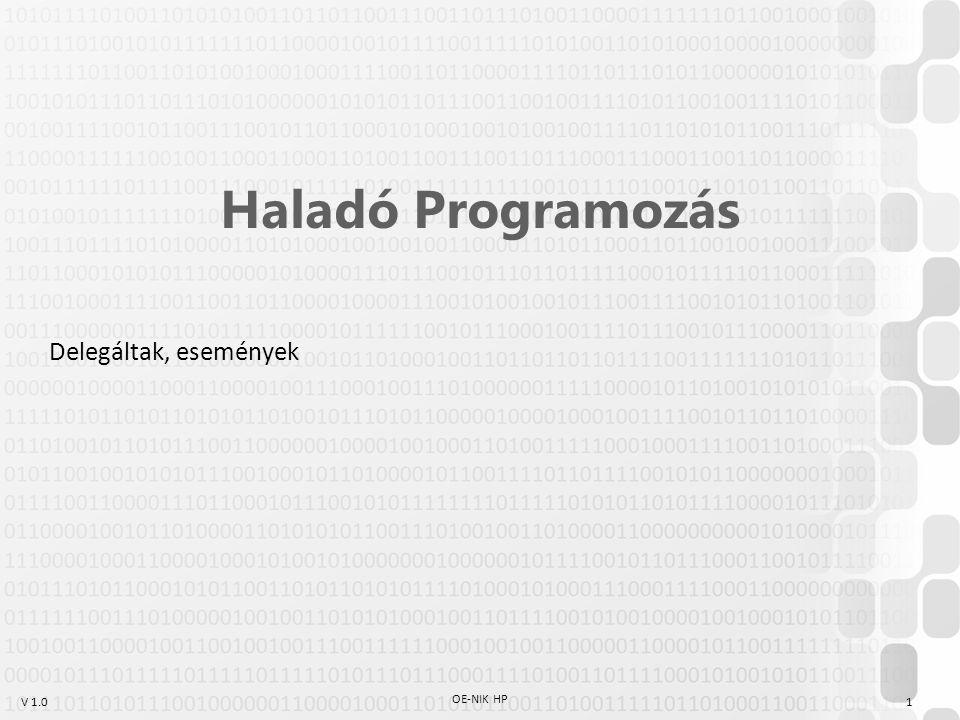 """V 1.0 Névtelen függvények Delegáltak fő használati módjai: –Események –Metódussal való paraméterezés Probléma: az egyszer használatos függvények """"elszennyezik a kódot (pl: IntelliSense-t is) Megoldás: névtelen függvények Az angol dokumentáció szerint: (http://msdn.microsoft.com/en- us/library/bb882516.aspx) OE-NIK HP 12 anonymous methods Anonymous functions lambda expressions"""
