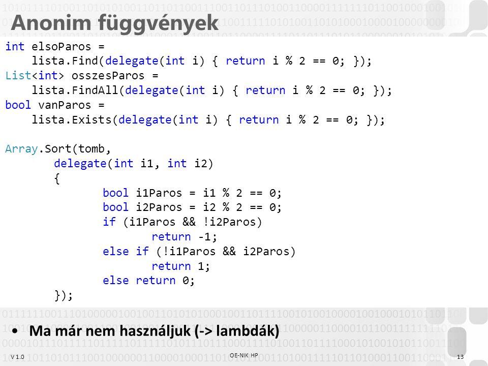 V 1.0 Anonim függvények Ma már nem használjuk (-> lambdák) OE-NIK HP 13 int elsoParos = lista.Find(delegate(int i) { return i % 2 == 0; }); List ossze