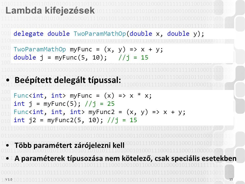 V 1.015 Lambda kifejezések Beépített delegált típussal: Több paramétert zárójelezni kell A paraméterek típusozása nem kötelező, csak speciális esetekb