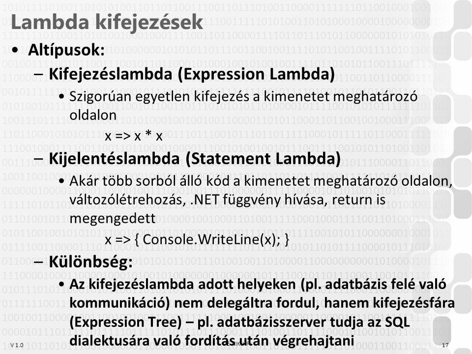 V 1.0 Lambda kifejezések Altípusok: –Kifejezéslambda (Expression Lambda) Szigorúan egyetlen kifejezés a kimenetet meghatározó oldalon x => x * x –Kije