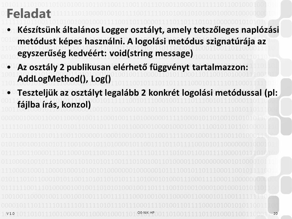 V 1.0 Feladat Készítsünk általános Logger osztályt, amely tetszőleges naplózási metódust képes használni. A logolási metódus szignatúrája az egyszerűs