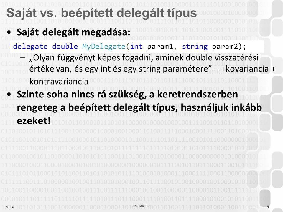 V 1.0 OE-NIK HP 5 Beépített delegált típusok Predicate bool(T) List.Find(),.Exists(), RemoveAll()… Comparison int(T1,T2) List.Sort(), Array.Sort() MethodInvokervoid() EventHandlervoid(object,EventArgs) EventHandler void(object,T) (T EventArgs utód) Actionvoid() Action void(T) Action void(T1,T2) Action void(T1,T2,...,T16) Func TRes() Func TRes(T) Func TRes(T1,T2) Func TRes(T1,T2,...,T16)