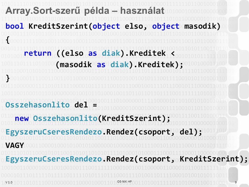 V 1.0 OE-NIK HP 9 Array.Sort-szerű példa – használat bool KreditSzerint(object elso, object masodik) { return ((elso as diak).Kreditek < (masodik as d