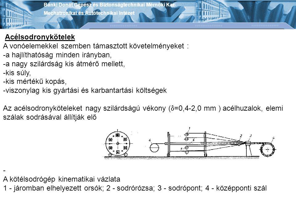 Acélsodronykötelek A vonóelemekkel szemben támasztott követelményeket : -a hajlíthatóság minden irányban, -a nagy szilárdság kis átmérő mellett, -kis
