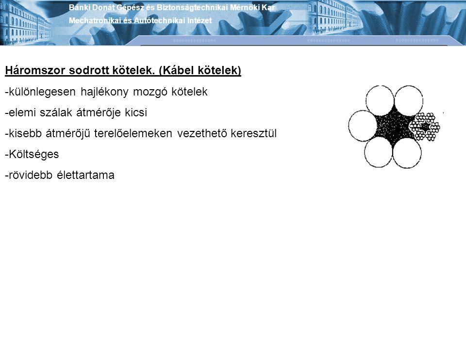 Bánki Donát Gépész és Biztonságtechnikai Mérnöki Kar Mechatronikai és Autótechnikai Intézet Háromszor sodrott kötelek. (Kábel kötelek) -különlegesen h