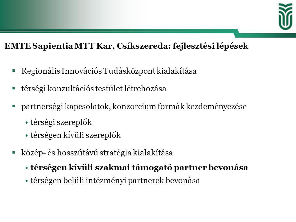 EMTE Sapientia MTT Kar, Csíkszereda: fejlesztési lépések  Regionális Innovációs Tudásközpont kialakítása  térségi konzultációs testület létrehozása  partnerségi kapcsolatok, konzorcium formák kezdeményezése térségi szereplők térségen kívüli szereplők  közép- és hosszútávú stratégia kialakítása térségen kívüli szakmai támogató partner bevonása térségen belüli intézményi partnerek bevonása