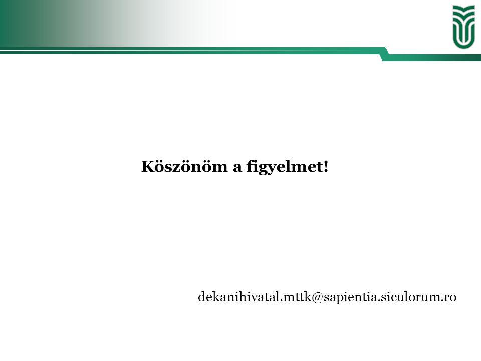 Köszönöm a figyelmet! dekanihivatal.mttk@sapientia.siculorum.ro