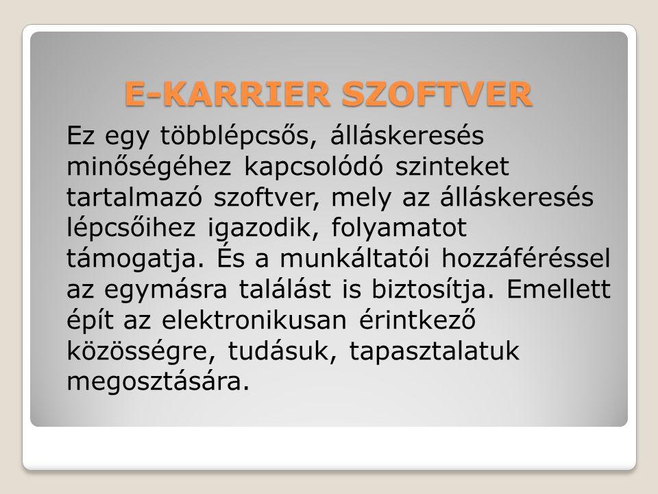 E-KARRIER SZOFTVER Ez egy többlépcsős, álláskeresés minőségéhez kapcsolódó szinteket tartalmazó szoftver, mely az álláskeresés lépcsőihez igazodik, folyamatot támogatja.