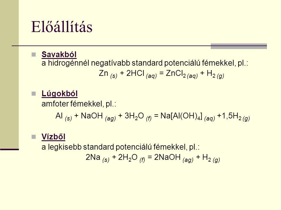 Előállítás Savakból a hidrogénnél negatívabb standard potenciálú fémekkel, pl.: Zn (s) + 2HCl (aq) = ZnCl 2 (aq) + H 2 (g) Lúgokból amfoter fémekkel,