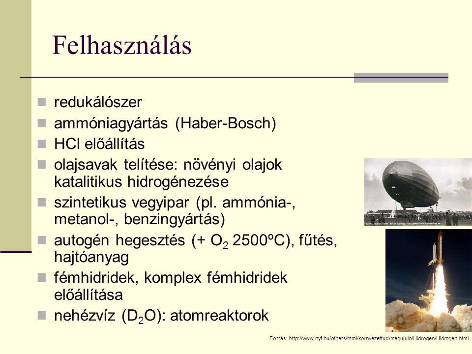 Felhasználás redukálószer ammóniagyártás (Haber-Bosch) HCl előállítás olajsavak telítése: növényi olajok katalitikus hidrogénezése szintetikus vegyipa