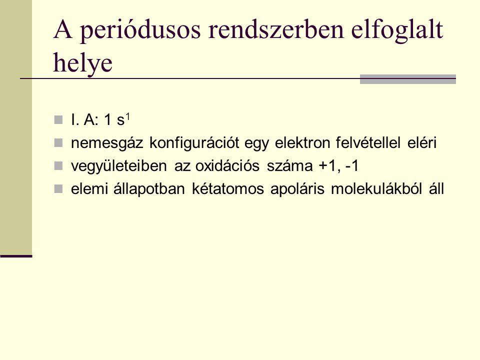 A periódusos rendszerben elfoglalt helye I. A: 1 s 1 nemesgáz konfigurációt egy elektron felvétellel eléri vegyületeiben az oxidációs száma +1, -1 ele