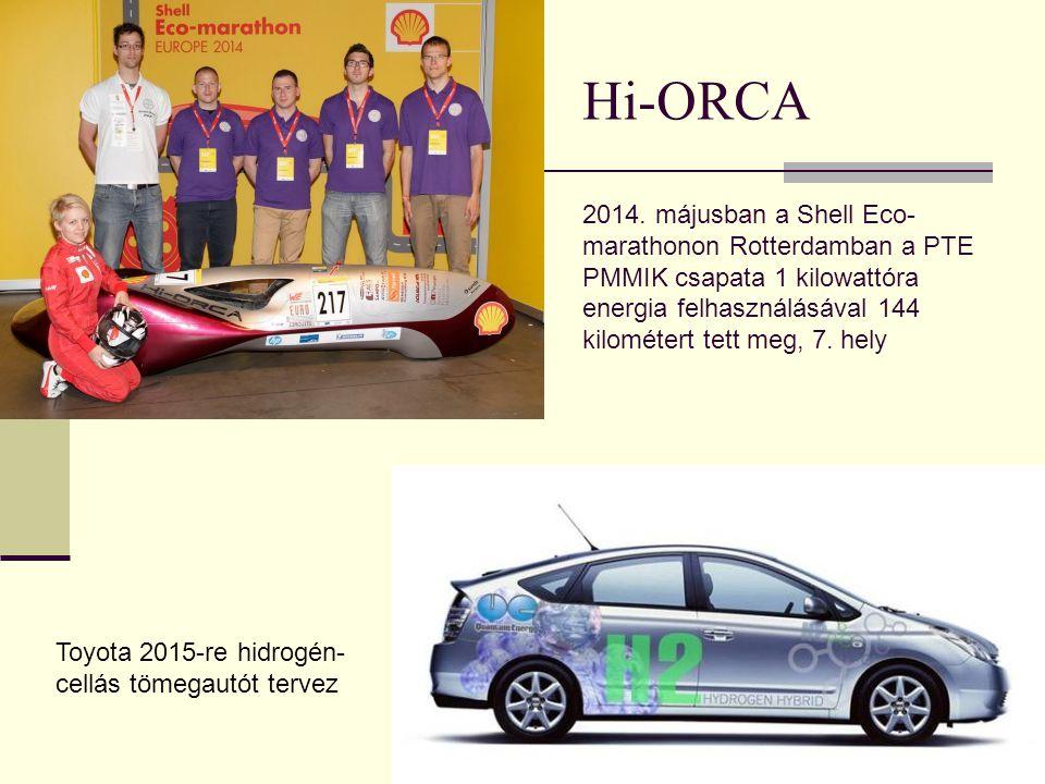 Hi-ORCA 2014. májusban a Shell Eco- marathonon Rotterdamban a PTE PMMIK csapata 1 kilowattóra energia felhasználásával 144 kilométert tett meg, 7. hel